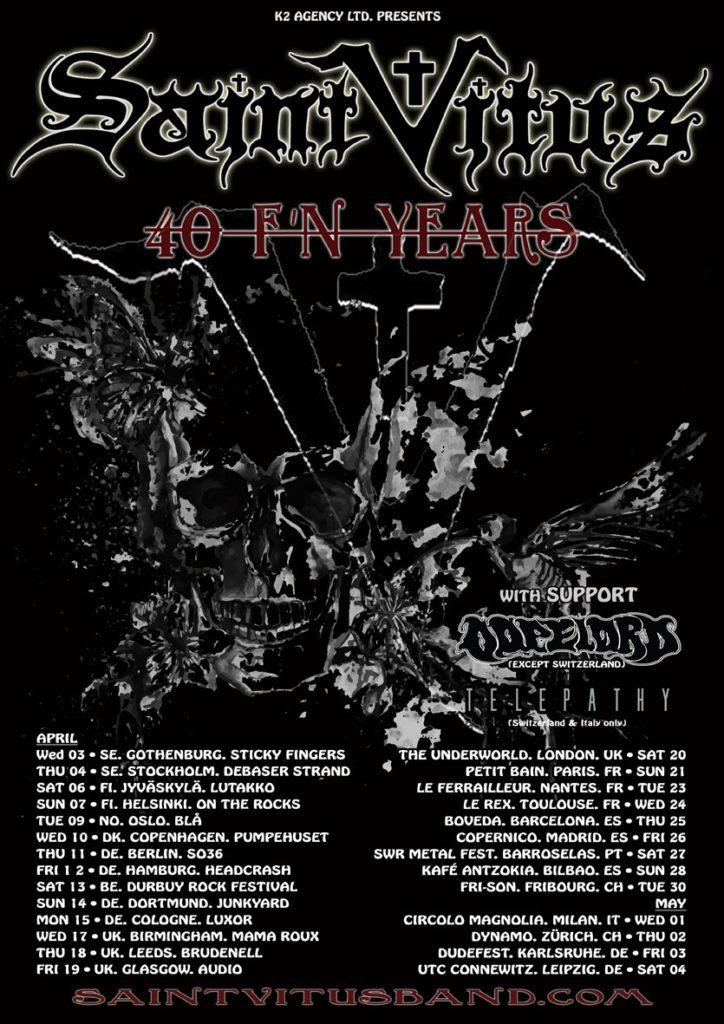 SAINT VITUS: new European tour dates - Paris Move