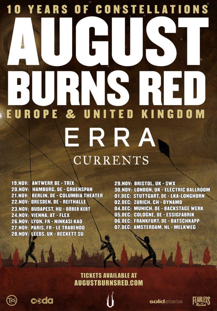 AUGUST BURNS RED: 2 concerts en France fin 2019 - Paris Move