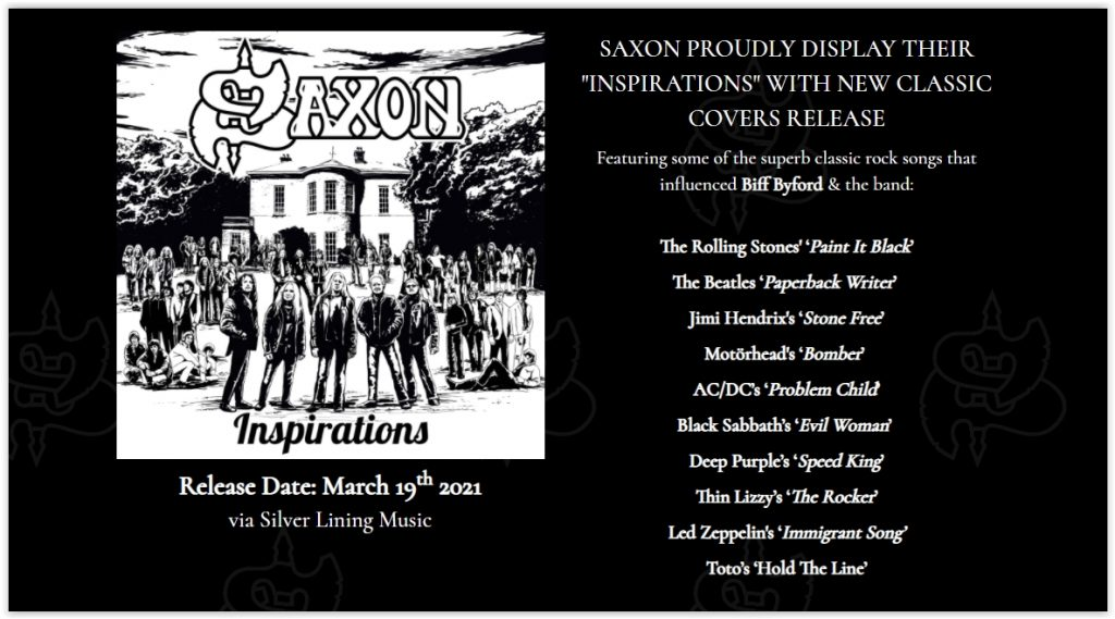 """SAXON: a set of covers with """"Inspirations"""" - Paris Move"""